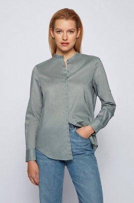Relaxed-Fit Bluse aus Chambray mit Ärmeln zum Umkrempeln, Hellgrün