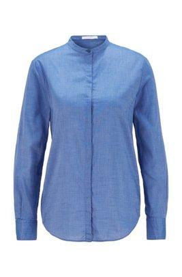 Chemisier Relaxed Fit en chambray aux manches retroussables, bleu clair