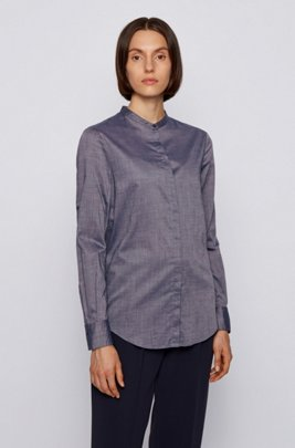 Relaxed-fit chambray blouse with roll-up sleeves, Light Blue