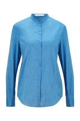 Relaxed-Fit Bluse aus Chambray mit Ärmeln zum Umkrempeln, Hellblau