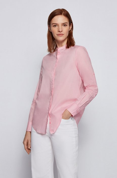 Chemisier Relaxed Fit en chambray aux manches retroussables, Rose