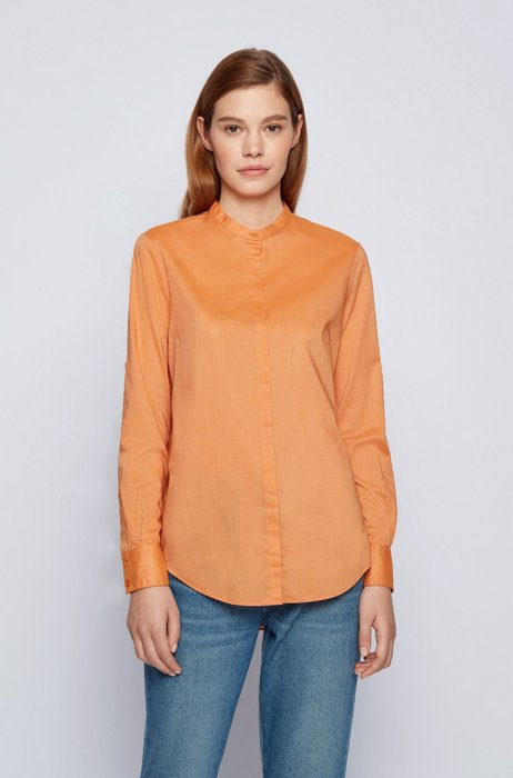 Relaxed-fit chambray blouse with roll-up sleeves, Light Yellow