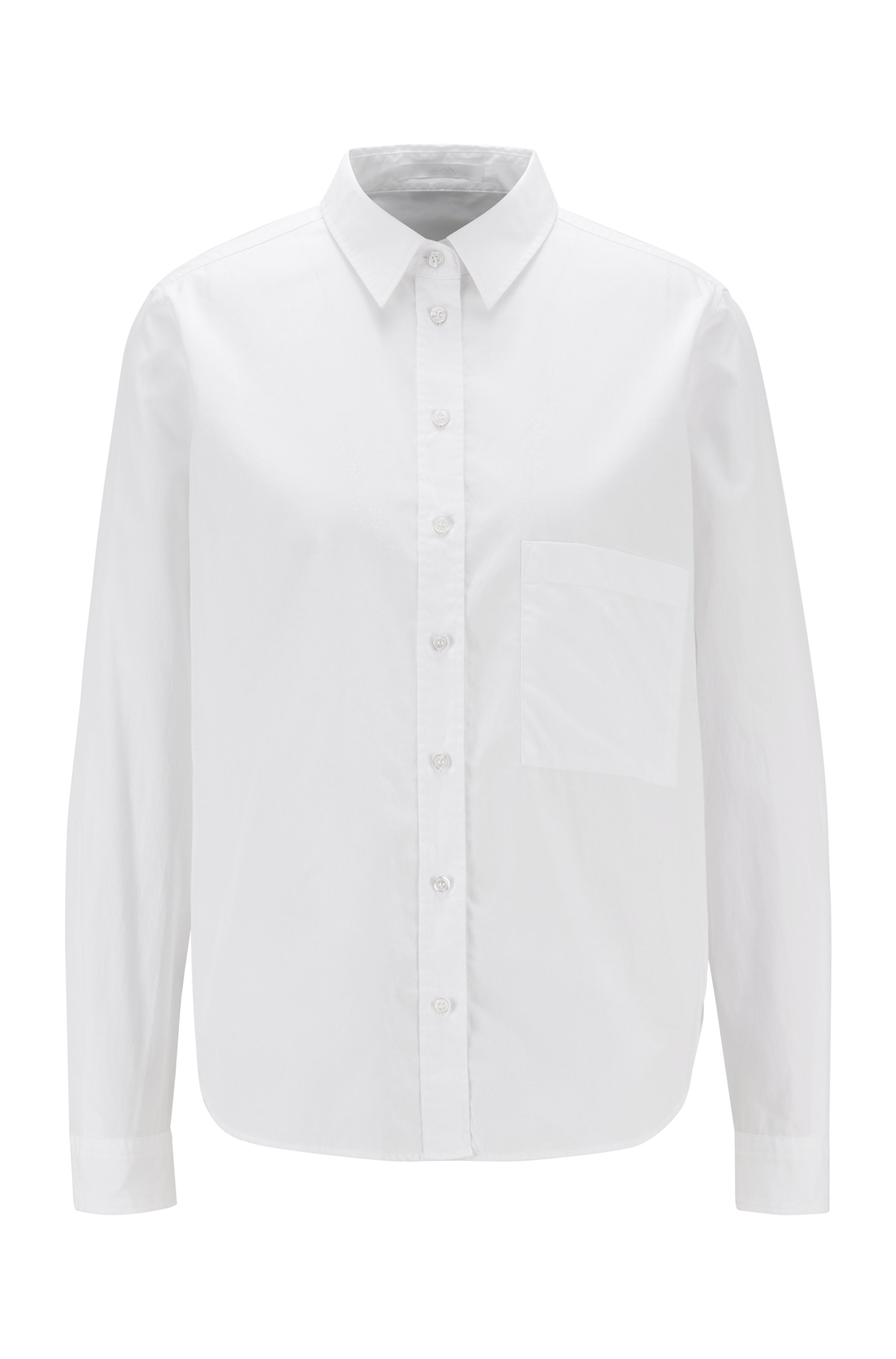 Regular-fit blouse in organic cotton poplin, White