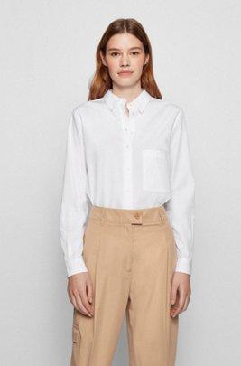 Regular-fit blouse in een popeline van biologische katoen, Wit