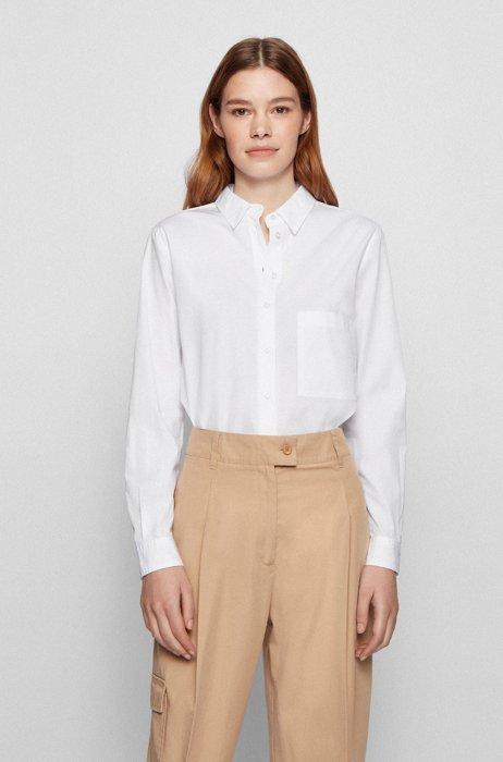 Regular-Fit Bluse aus Bio-Baumwoll-Popeline, Weiß