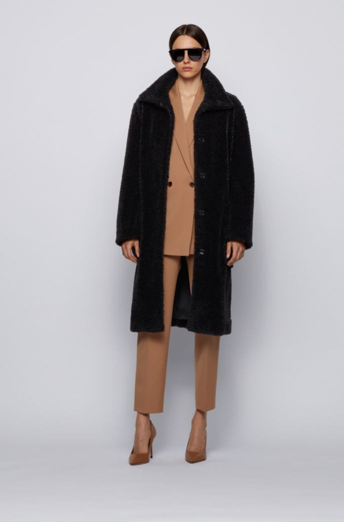 Long relaxed-fit teddy coat with stand collar