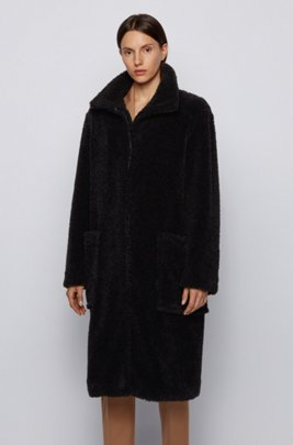 Long relaxed-fit teddy coat with stand collar, Black