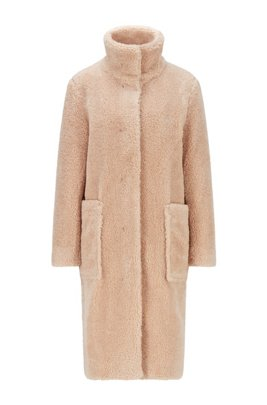 Long relaxed-fit teddy coat with stand collar, Light Beige
