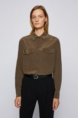 Regular-fit blouse in sand-washed silk, Light Green