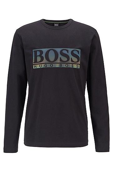 徽标圆领长袖T恤,  001_黑色