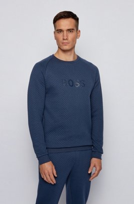 Logo sweatshirt in a quilted cotton blend, Dark Blue