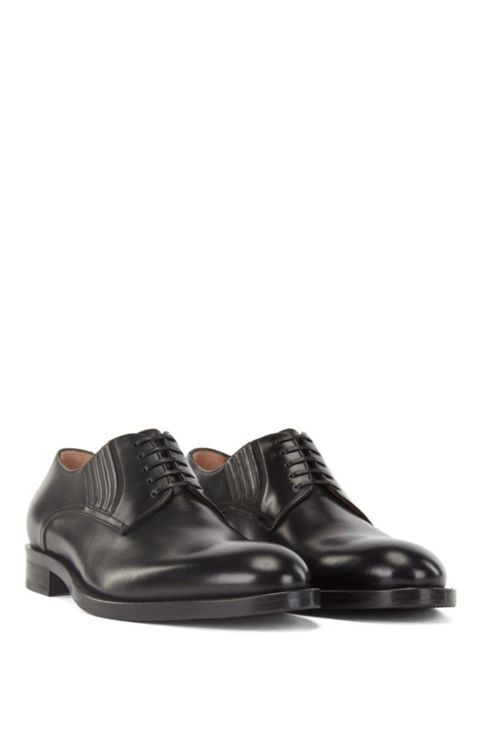 Polished-leather Derby shoes with leather-covered elastic inserts