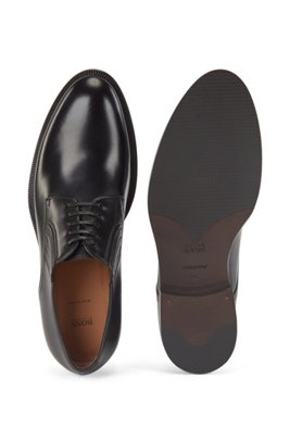 Polished-leather Derby shoes with leather-covered elastic inserts, Black
