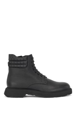 Italian-made boots in grained leather with monogram collar, Black