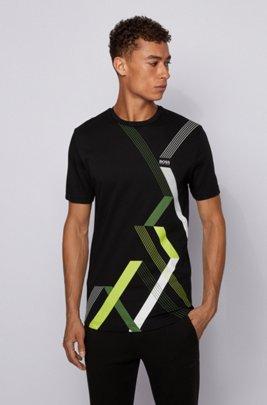 T-shirt van interlocked katoen met ronde hals en geometrische print, Zwart