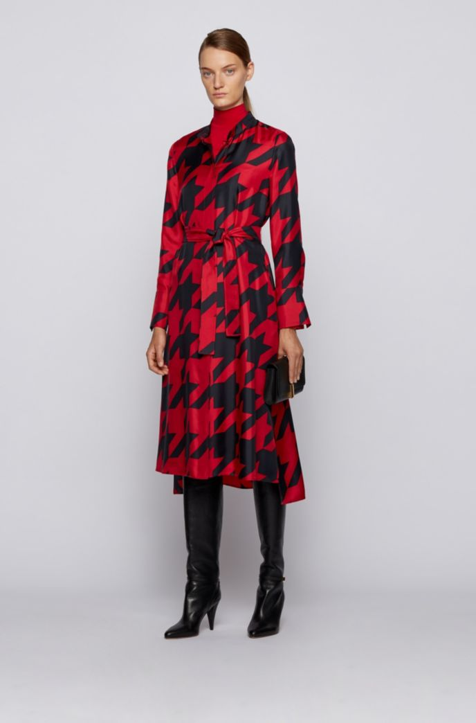 Shirt dress in silk with houndstooth motif