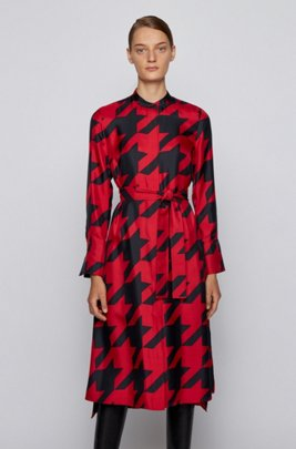 Shirt dress in silk with houndstooth motif, Patterned