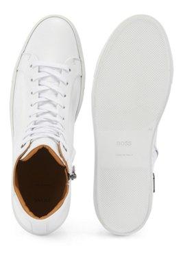 Hoge ritssneakers van nappaleer met rits opzij, Wit