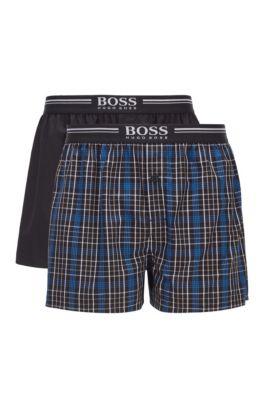 Lot de deux shorts de pyjama en popeline de coton, Bleu foncé