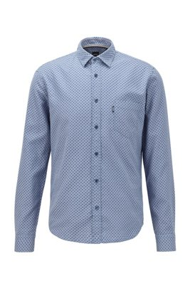 Slim-fit shirt in dobby-jacquard cotton, Dark Blue