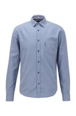 Slim-fit overhemd van katoen in dobby-jacquard, Donkerblauw
