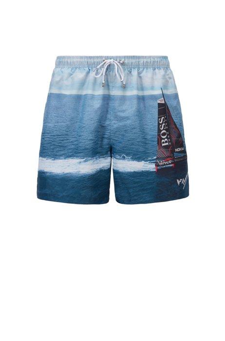 Mountain-print swim shorts in SEAQUAL™ fabric, Light Blue