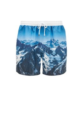 Mountain-print swim shorts in SEAQUAL™ fabric, Light Blue