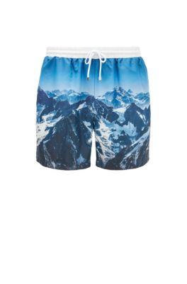 Short de bain à imprimé montagne en tissu SEAQUAL™, bleu clair