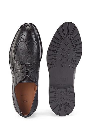 布洛克细节装饰意大利制造皮革德比鞋,  001_黑色