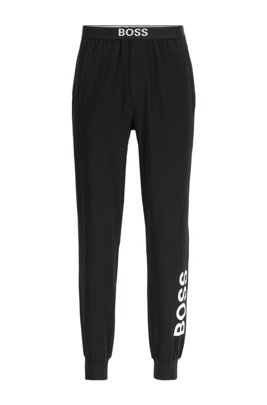 Cuffed pyjama trousers in stretch cotton with logo details, Black