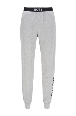 Cuffed pyjama trousers in stretch cotton with logo details, Light Grey