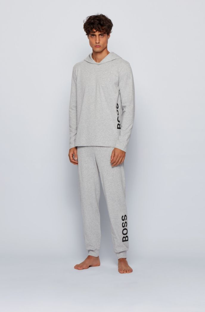 Cuffed pyjama trousers in stretch cotton with logo details