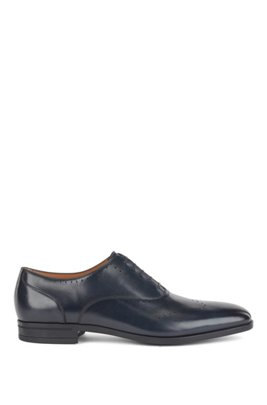 Oxford shoes in burnished leather with lasered details, Dark Blue