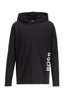 Hooded pyjama top in stretch cotton with printed logo, Black