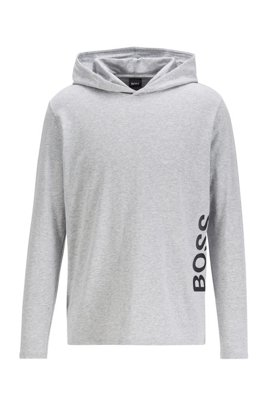 Hooded pyjama top in stretch cotton with printed logo, Light Grey