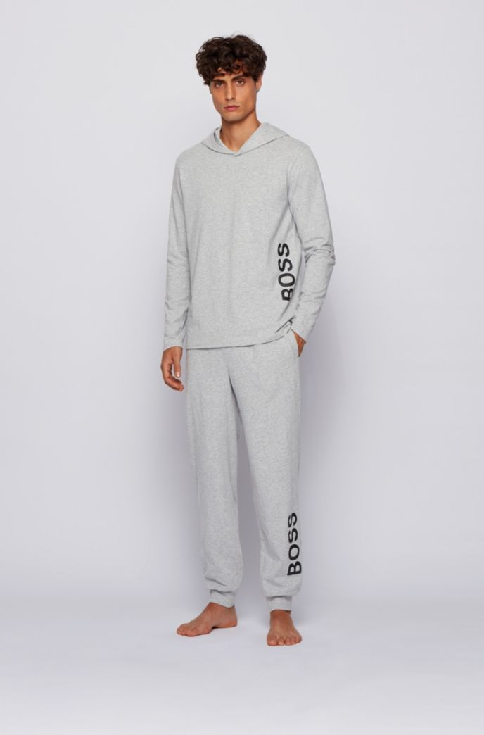 Hooded pyjama top in stretch cotton with printed logo
