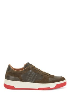 Mixed-leather trainers with glossy monogram, Dark Green