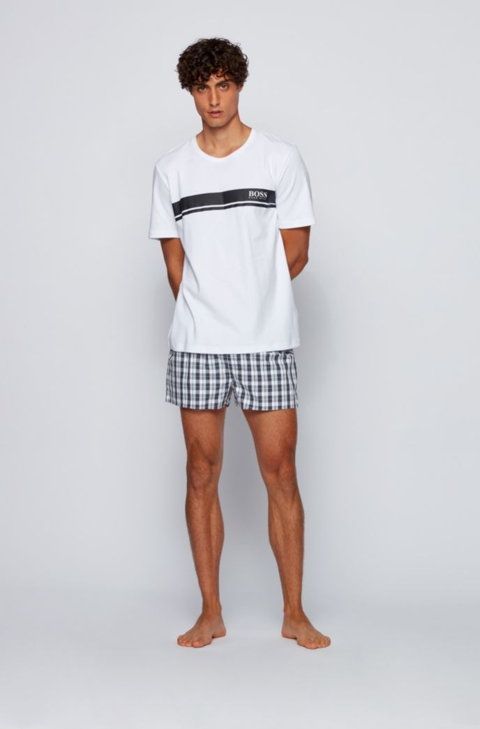 Button-fly pyjama shorts in checked cotton