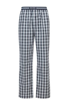 Button-fly pyjama trousers in checked cotton, Blue