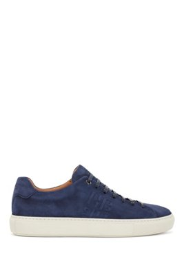 Monogram trainers in Italian suede, Dark Blue