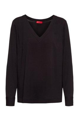 Regular-fit V-neck top in crepe georgette, Black