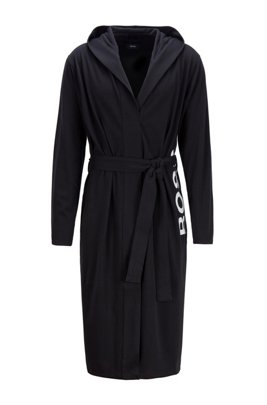 Logo-print dressing gown in brushed cotton, Black