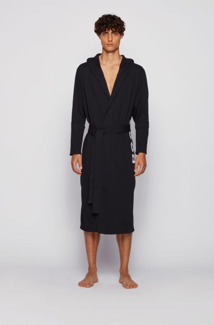 Logo-print dressing gown in brushed cotton