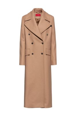 Double-breasted coat in a wool blend, Light Brown