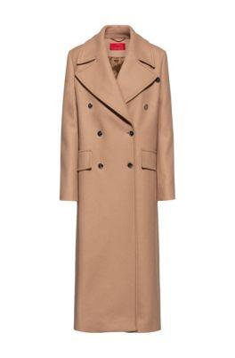 Manteau croisé en laine mélangée, Brun chiné