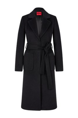 Kimono-style belted coat in a relaxed fit, Black