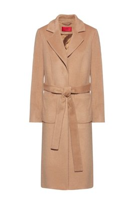 Kimono-style belted coat in a relaxed fit, Light Brown
