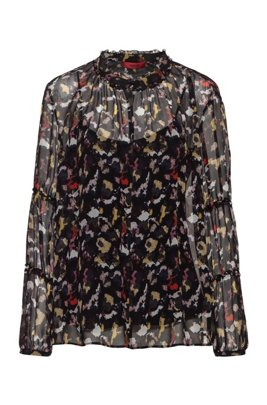 Regular-fit top in silk chiffon with collection print, Patterned