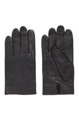 Lamb-leather gloves with piping and hardware badge, Black