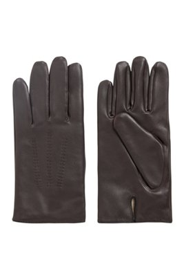 Lamb-leather gloves with piping and hardware badge, Light Brown